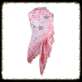 Sjaal Stars Bies Roze