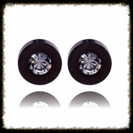 RVS Ear Studs Rondje Zwart met 4 paar steentjes