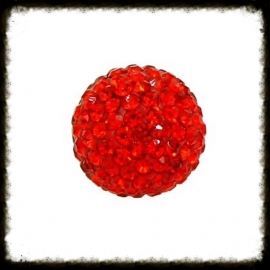 Strass klankbol rood - 16mm