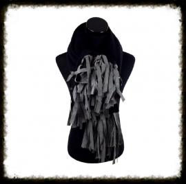 Warme sjaal met franjes kleur Zwart