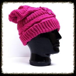 Wollen muts roze