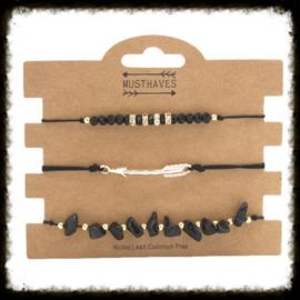 Armbandsetje Stones & Arrow Zwart
