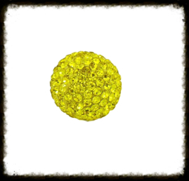 Strass klankbol geel - 16mm