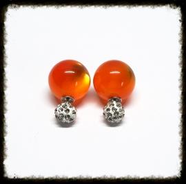 Oranje met strass knopje DD-24