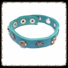 Lederen  Armband Aqua Blauw