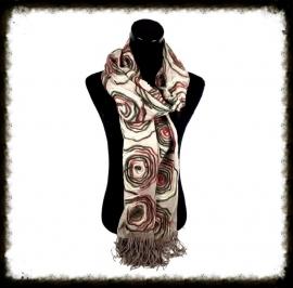 Luxe sjaal met bloemen en franjes kleur Taupe