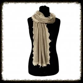 Sjaal met gehaakt randje - Licht Bruin