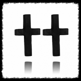 RVS Ear Studs Kruisje Zwart