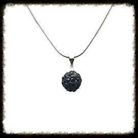 Zilveren ketting Shamballa Zwart  ZKS-15