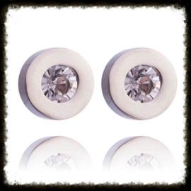RVS Ear Studs Rondje Zilver met 4 paar steentjes