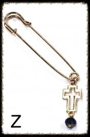 Sjaalspeld  Goud - Z  met kruisje en kraaltje