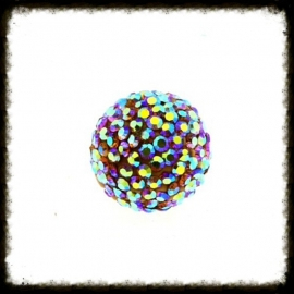 Strass klankbol multicolor - 16mm