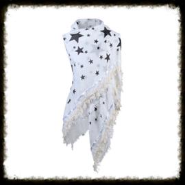 Sjaal Stars Bies Wit