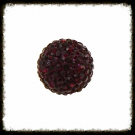 Strass klankbol aubergine - 16mm