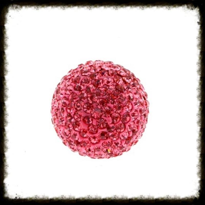 Strass klankbol roze - 16mm