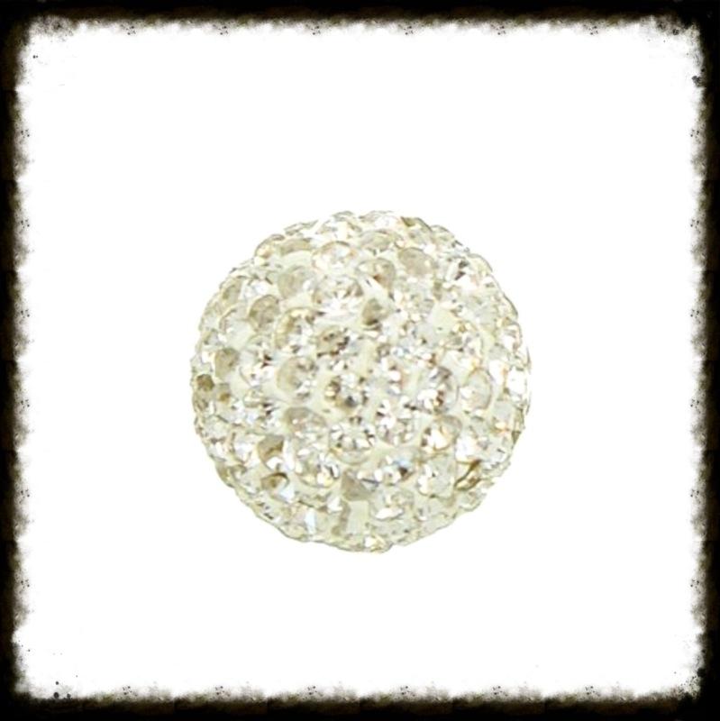 Strass klankbol zilver - 16mm