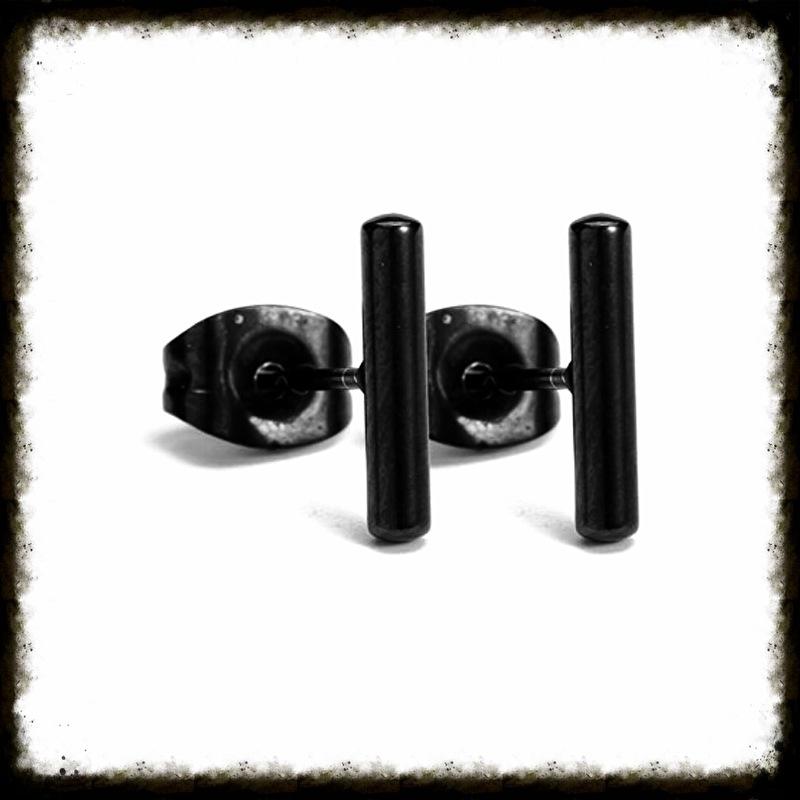 RVS Ear Studs Rondje Cilinder Zwart