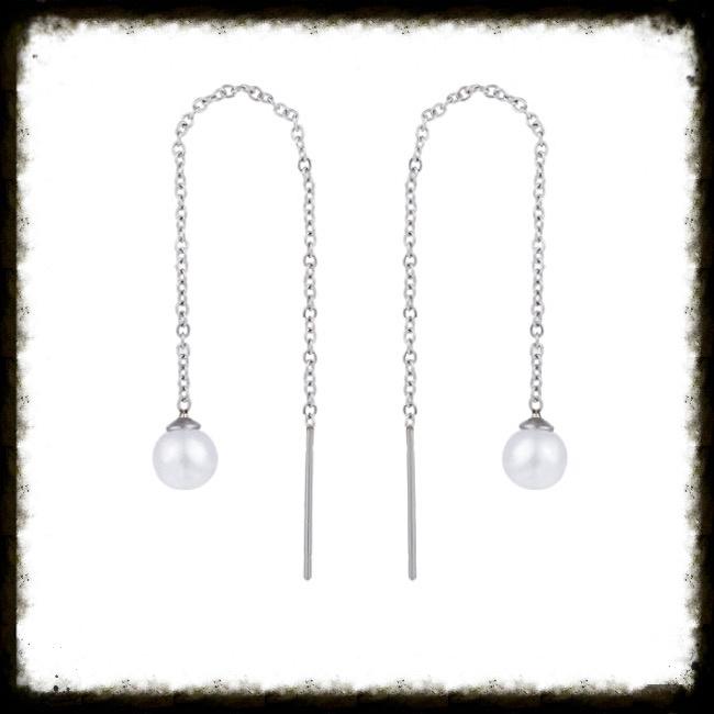 RVS Oorbellen Chain Pearl