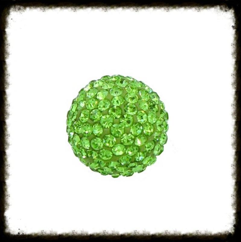 Strass klankbol groen - 16mm