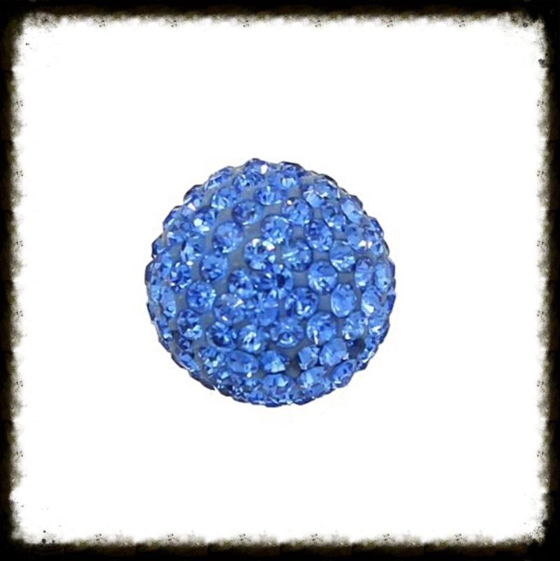Strass klankbol blauw - 16mm