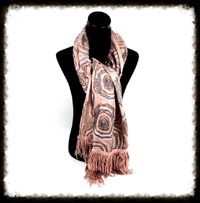 Luxe sjaal met bloemen en franjes kleur Zalm/Taupe