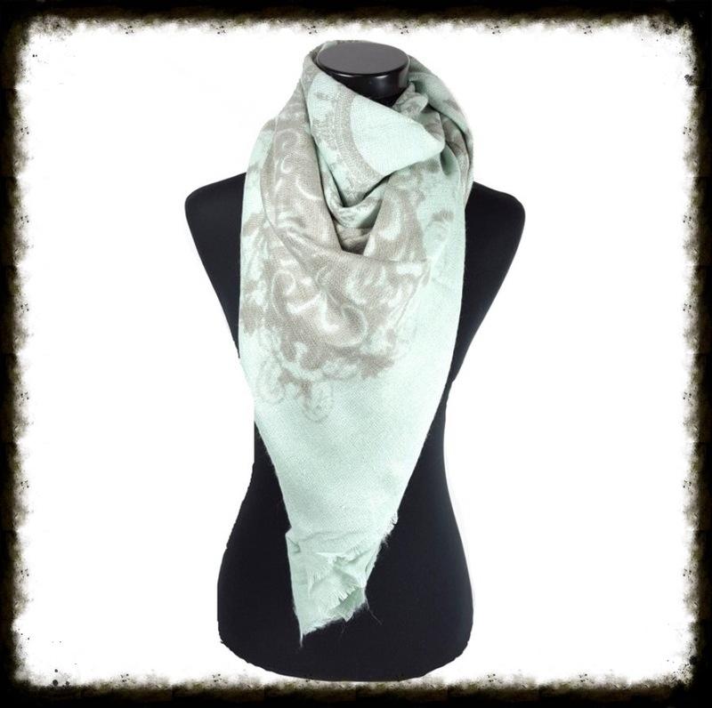 Vierkante sjaal met fantasieprint Mint