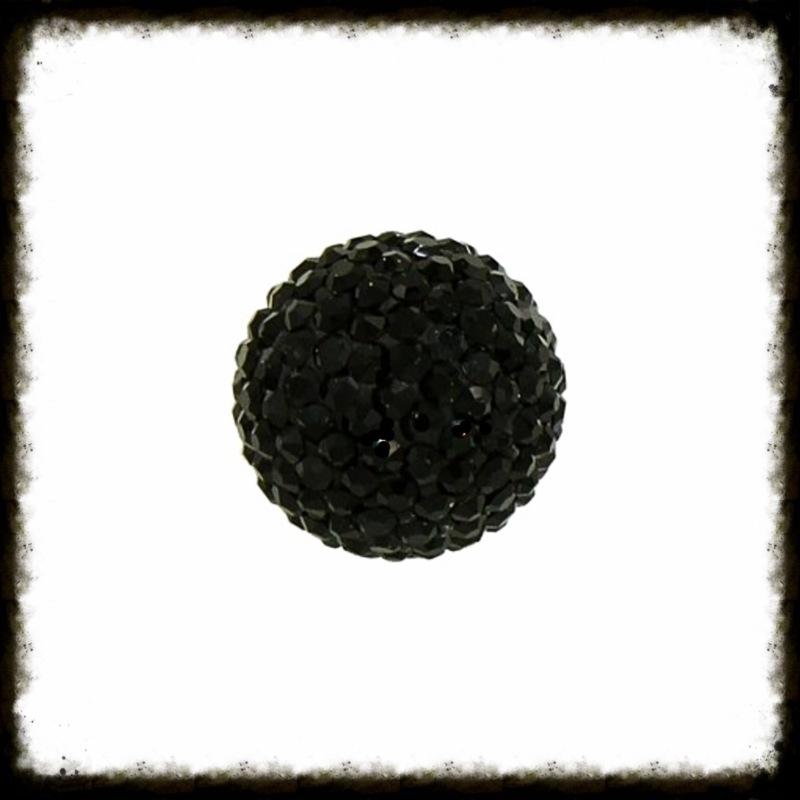 Strass klankbol zwart - 16mm