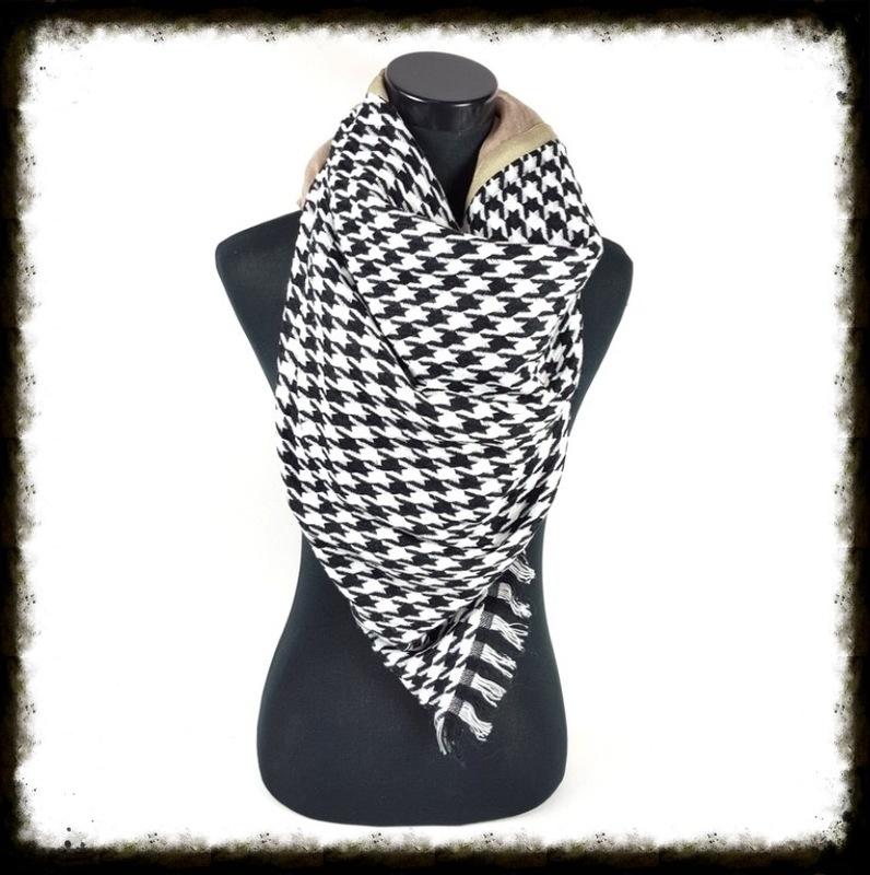 Vierkante sjaal met franjes en bolletjes Taupe