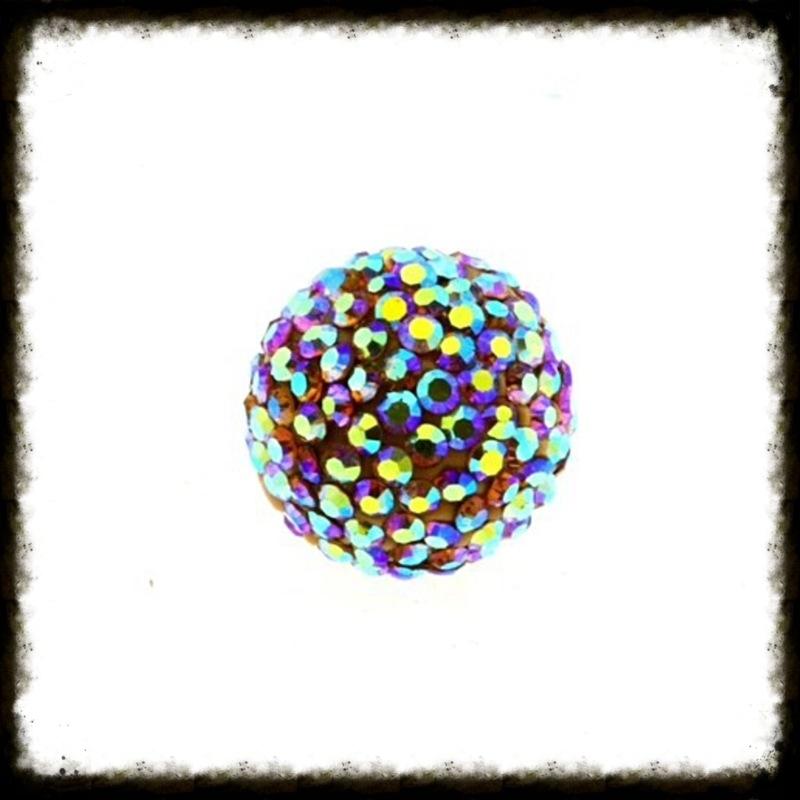 Strass klankbol multicolor - 16mm