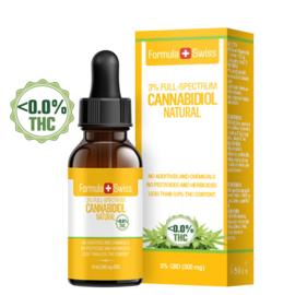 FLESJE 10ML CBD OLIE DRUPPELS  NATUREL  3-30% (300-3.000 mg) - THC<0.0%