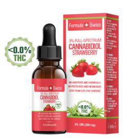 FLESJE 10ML CBD OLIE DRUPPELS  AARDBEI  3-30% (300-3.000 mg) - THC<0.0%
