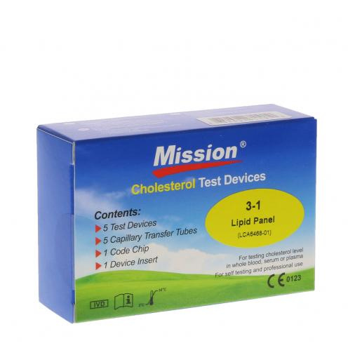 MISSION CHOLESTEROL METER TESTSTRIPS 3-IN-1 (BOX 5 stuks)