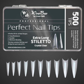 WowBao  Professional Perfect Nail Tips Extra Long Stiletto Crystal Clear 500st