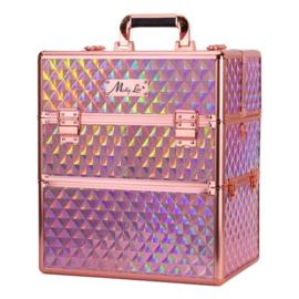XXL Koffer 3D Holo Roze met rosé gouden beslag