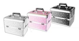 Koffer zilver glitter (kleine beschadiging op de koffer)