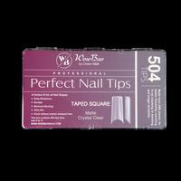 WowBao Professional Perfect Nail Tips  Taped Square Matte Crystal Clear 500st