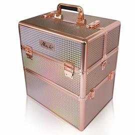 XXL Koffer  Holografisch Rosé met rosé gouden beslag