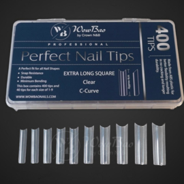 WowBao Professional Perfect Nail Tips  Extra Long Square Clear C-curve 500st