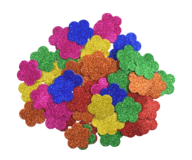 Rubberfoam Stickers Glitter Bloemen