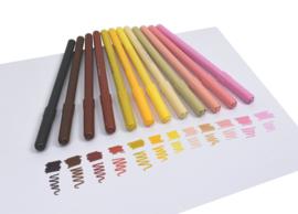 12 Viltstiften - Huidskleuren