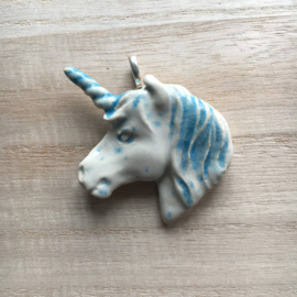 Unicorn pendant off white and blue