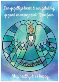 Kerstkaartje Glas-in-lood engel