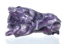 Draken skull paarse fluoriet 7,7  cm