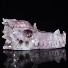 Draken skull roze toermalijn 12+ cm