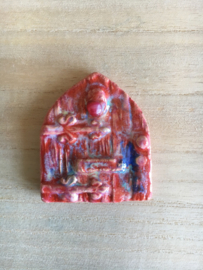 Rood met blauw elfendeurtje met gekleurde agaat
