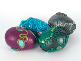 Sea dragon egg with pearls and shells