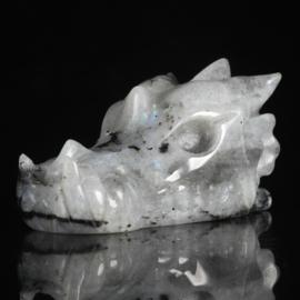 Draken skull regenboogmaansteen (labradoriet) 1: 5,3 cm