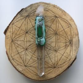 Magisch stafje met zielkwarts, bergkristal en chrysopraas
