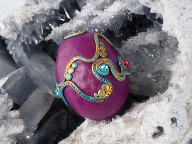 Purple Dragon egg with howlite and Swarovski crystals