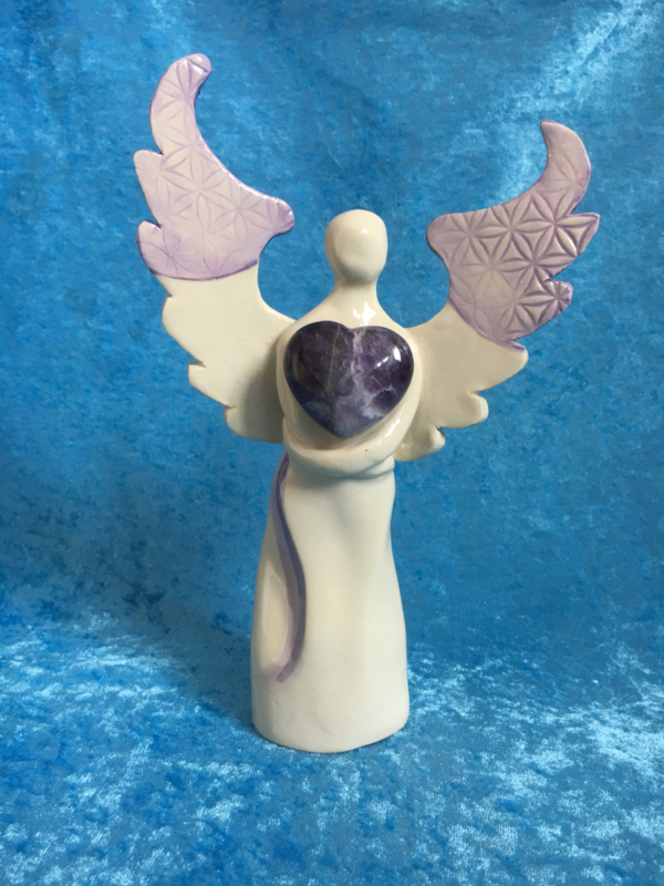 Flower of Life Engel met amethist